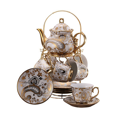 ufengke 13 Piece European Retro Titanium Ceramic Tea Set With Metal Holder, Tea