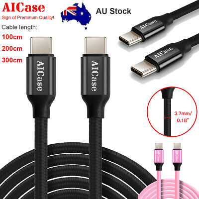 USB C to USB C Cable Type C Nylon Braided Fast Charging for Samsung LG Huawei AU