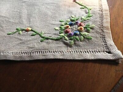 Vintage Hand embroidered Stumpwork Doily