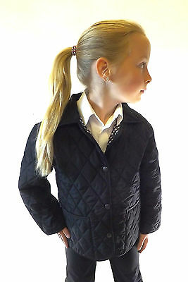New Girls Black Fitted Quilted School Jacket Size 18 20 22 24 26 28 30 32 34