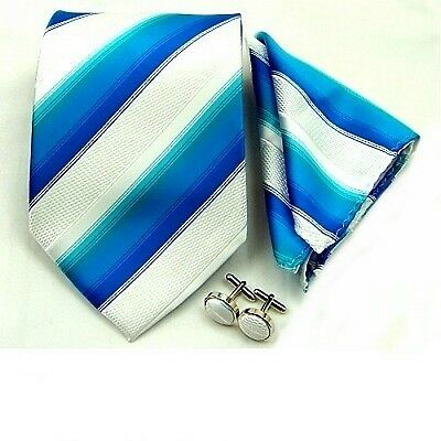 White Blue Striped Men's Neckties Hanky Cufflinks Handkerchief Neck tie Set TZ27