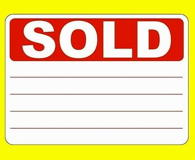 Red SOLD Stickers / Swing Tag Sticky Labels - Removable Adhesive - 5 Sizes