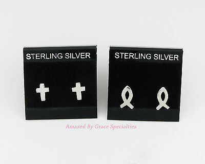 TWO PAIR! SOLID Sterling Silver 925 CROSS and ICHTHYS or Fish Post Earrings
