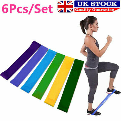 UK 6 Level Resistance Exercise Loop Bands Home Gym Fitness Natural Latex 6PCS
