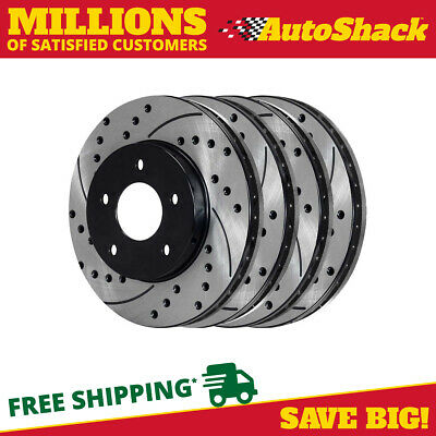 FRONT REAR SET Performance Cross Drilled Slotted Brake Disc Rotors TBS20694
