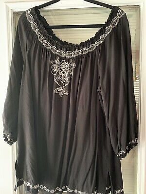 6c5224cf314ea4 ELLOS WOMENS PLUS Size 1X BLACK- WHITE Bib Design Tunic Blouse Top ...