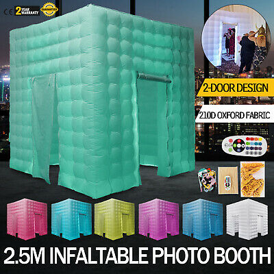 2 Door Inflatable LED Air Pump Photo Booth Tent Fun Spacious Oxford Fabric