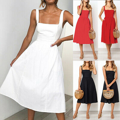 Women Casual Summer Dress sleeveless Mid-Calf Ladies Elegant Dresses Sundress