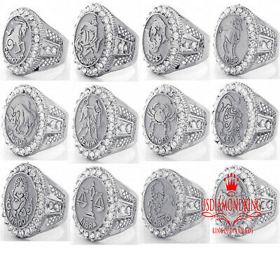 10K White Gold On Real Silver Lab Diamonds Zodiac Astrology Mens Pinky Ring Band