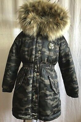 f0f0ae49b NEW DKNY GIRLS' Long Anorak Hooded Jacket Camo Olive Green Size 7-8 ...