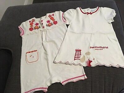 Baby Girls Next Romper And Chicco Dress 6-9 Months