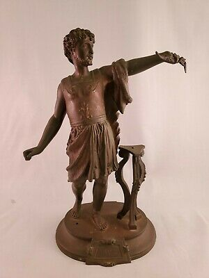 "Vintage French Art Nouveau Spelter Figure Titled ""Leandre"""