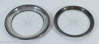 Pair of Antique Sterling Silver Rim Etched Glass Dish Plates 5 1/2 & 5 inch