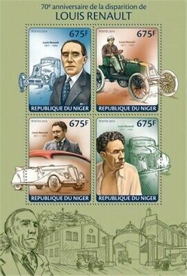 Niger - 2014 Louis Renault 70th Anniversary - 4 Stamp Sheet - 14A-393