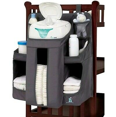 """hiccapop Hanging Clip-On Crib Nursery Baby Diaper ORGANIZER Caddy - Gray 20"""" H"""