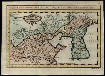 Korea China Cathay Empire of Genghis Khan 1749 Bellin beautiful hand color map