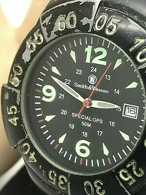 Smith & Wesson Special Ops Black Dial Velcro Band Men's Quartz Watch USED