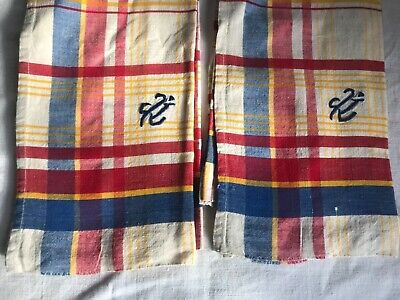 Vintage Tea Towels Red Blue Yellow Checked Dishcloths French Decor Projects /2pc