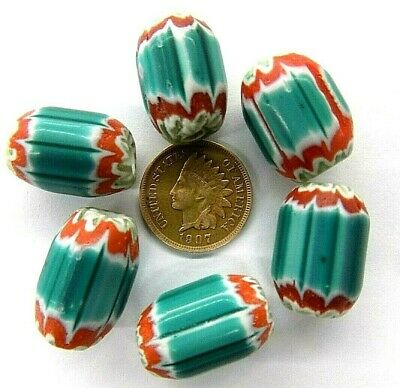 Antique Venetian GREEN Chevron Trade Beads Off Clear Layer  20 Pc     T4048  RT