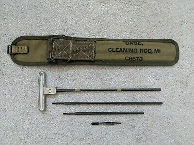 Old Vtg WW2 Army Green Case with Cleaning Rods and Wire Brush, MI C6573