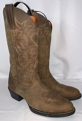 0bdd99bd11cbd EUC MENS ARIAT HERITAGE R TOE BROWN LEATHER COWBOY WESTERN BOOTS Sz 9.5 D