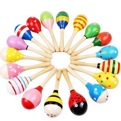 Kid Baby Sand Hammer Rattle Musical Instrument Percussion Wooden Ball Toy Gift