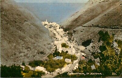 Vintage Postcard; Town View, Jamestown, St. Helena, British Colony Stamp Posted