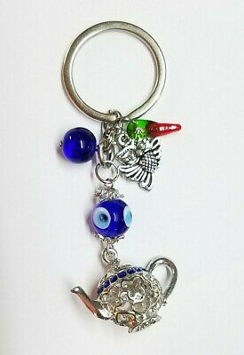 Evil Eye ProtectionTea Kettle Lucky Owl Chili Key Chain Hanging Ring Feng Shui