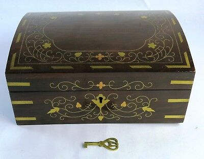 Vintage Antique Floral Brass Inlaid Rosewood Wood Jewelry Box & Orig. Key
