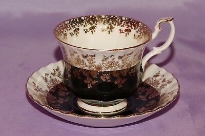 Royal Albert English Bone China Teacup & Saucer Set ~ Regal Series Black