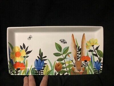Pier 1 Imports NWT Easter Spring MODERN FLORAL AND BUNNY PLATTER