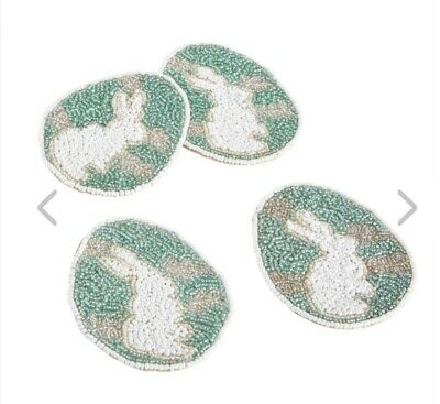 Pier 1 Imports NWT Easter Spring BEADED EGG WITH BUNNY COASTER SET