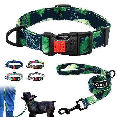 New Arrival Soft Cotton Small Large Dog Collar and Leash Set Various Colors