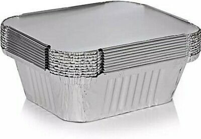 ALUMINIUM FOIL FOOD CONTAINERS+LIDS x 100 No.2 PERFECT FOR HOME AND TAKEAWAY USE