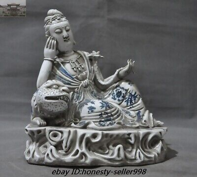 Old Chinese Temple Blue and White porcelain Lotus Beast Guanyin Kwan-yin Statue
