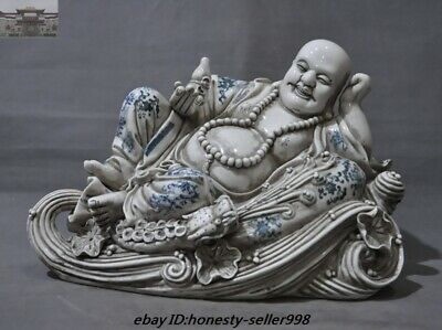Old Chinese Temple Blue and White porcelain Dragon Wealth Maitreya buddha Statue