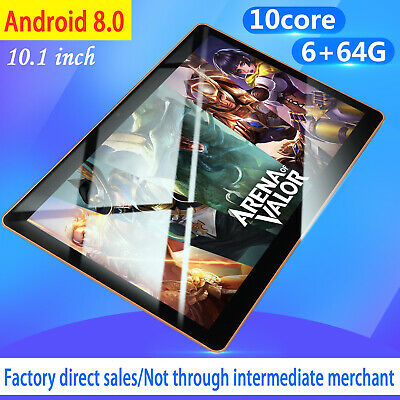 """New 10"""" HD Game Tablet PC Ten Core 6+64G Android 8.0 GPS 3G Wifi Dual Camera US"""