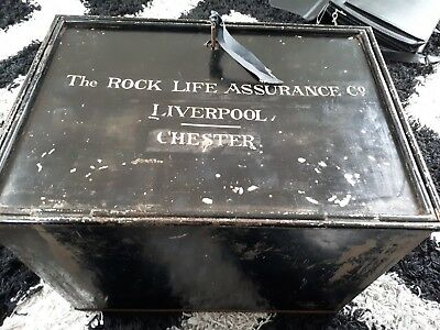 Antique Vintage Deed/Document Metal Box - Rock Life Assurance Liverpool Chester