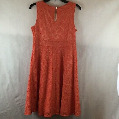 Sundance In A Heartbeat Coral Lace Overlay Sleeveless Fit Flare Dress Sz 6 NWOT