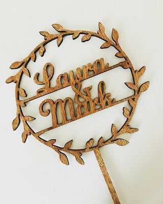 1st Anniversary Personalised Wood Rustic Cake Topper Laser Cut