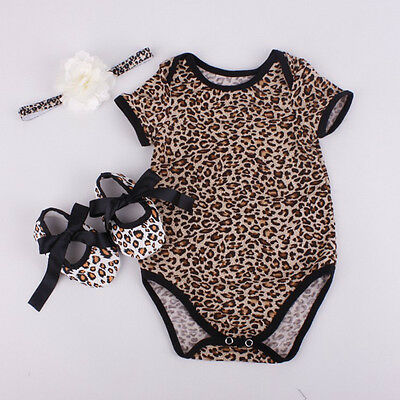 Newborn Baby Girl Romper Jumpsuit+Shoe+Hairband 3Pcs Outfits Set Clothes