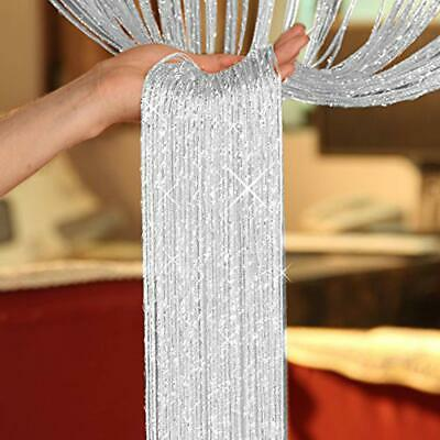 Silver Glitter & White String Dew Drop Curtain Door Panel Fly Screen 90cmx200cm
