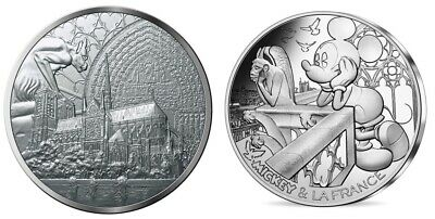 New ! France Medal Notre Dame De Paris Cathedral 2019 + 10 Euro Silver Mickey !