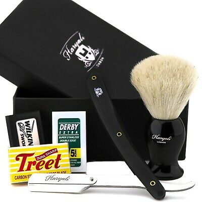 Straight (Cut Throat) Razor & White Badger Hair Brush Kit + Blades Barber Style