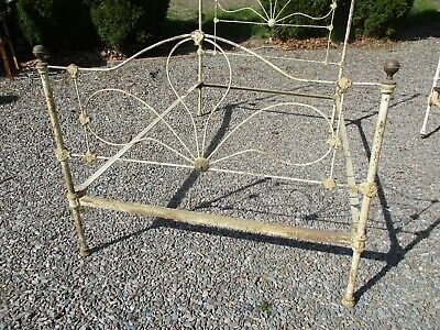 Ca 1900 Antique Iron Bed, Brass Toppers, 3/4 Size w/ Side Rails, Natural Wear