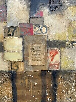 Vintage Mid-Century Modern Large Abstract Oil Mixed Media Painting Signed RAUL