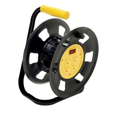 Extension Cord Reel Storage Electrical Power Heavy Duty Professional 4 Outlets