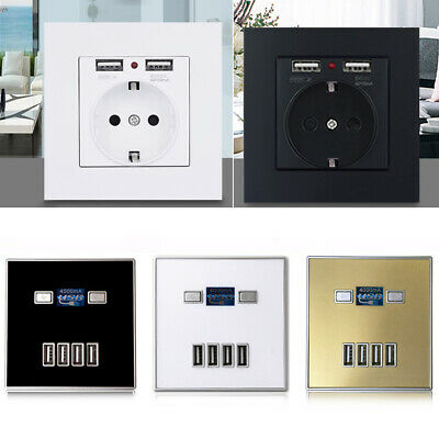 5A/13A USB 2/4-Port Wall Charger Socket Power Outlet Panel Electric Wall Adapter