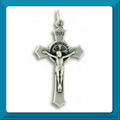 "St. Benedict Flared Edge Crucifix 1 1/2"" Silver Oxidized Italian JESUS CROSS ✝️"
