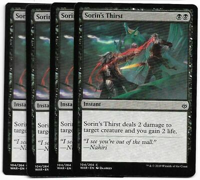 MTG WAR OF THE SPARK SORIN/'S THIRST x4 NM//MT